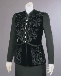 Evening jacket | House of Schiaparelli | Paris | Winter 1937-38 | wool twill, velvet, rhinestones | Philadelphia Museum of Art | Accession #: 1969-232-14