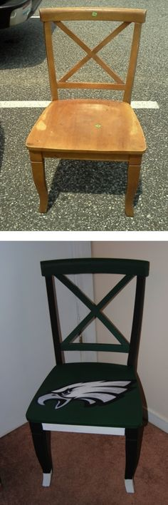 DIY- Upcycled Orphan Chair turned into a Sports Fan Chair with paint and Mod Podge.