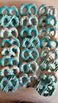 Chocolate Covered Pretzels!  White Chocolate Decorated in Baby Blue Or Pink!  Baby Shower, Birthday Party, Christening! Custom Orders! by WeareDippinChocolate on Etsy