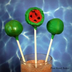 Great for the next Pool Party or BBQ!   Pint Sized Baker: How to Make Watermelon Cake Pops