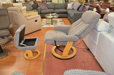 Living : Swivel Recliner Chair with Storage Footstool