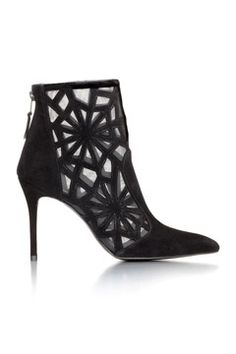 Stuart Weitzman Black Cut-Out High Heeled Ankle Boots Fall 2014 #Shoes #Heels #Booties