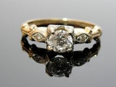 Victorian Art Deco Diamond Engagement Ring 14k Gold by MSJewelers, $1415.00
