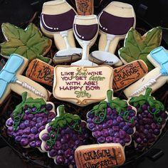 Wine cookies | Flickr - Photo Sharing! Wine Cookies, Fancy Cookies, Cut Out Cookies, Royal Icing Cookies, Cupcake Cookies, Sugar Cookies, Cupcakes, Wine Tasting Party, Wine Parties