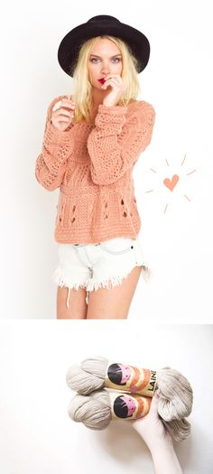 love the peach and the cut off whites and the cute hat of course
