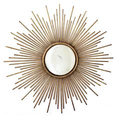 Two's Company Sunburst Antiqued Gold Wall Mirror