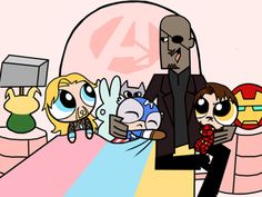 Puff Girls x Avengers mashup