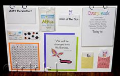 Calendar board ideas as well as lots of great circle time songs for preschool/kindy.
