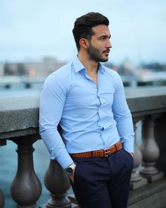 Sometimes you just need a belt to complete your whole outfit, check out for amazing belts in many different colours 👌🏻 Mens Dress Outfits, Formal Men Outfit, Formal Dresses For Men, Stylish Mens Outfits, Casual Wear For Men, Men Dress, Semi Formal Outfits, Casual Outfits, Fashion Dresses