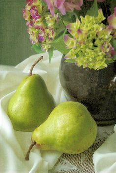 #springforpears and #usapears Green Pears & Hydrangea