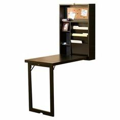 """Keep your home office organized with this innovative fold-out desk, featuring 2 adjustable shelves, file organizers, and a corkboard.   Product: DeskConstruction Material: Birch veneer and MDFColor: BlackFeatures:  Fold-out convertible deskTwo adjustable shelves Dimensions: 32"""" H x 22"""" W x 6"""" D"""