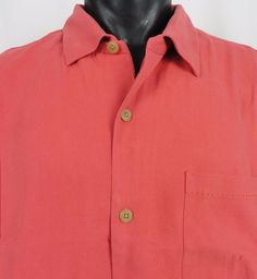 NWT Tommy Bahama Men 2XLT Silk Camp Shirt Hawaiian Dark Coral Havana Herringbone #TommyBahama #HawaiianCamp