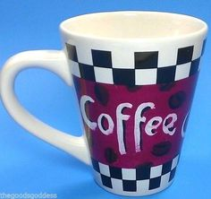 Coffee Love! Coffee Coffee Mug Cup Tea Checkered red coffee bean tall Bistro Retro tablecloth #coffeemug #retro