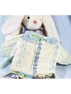 Free Baby Boy Button-Up Baby Cardigan Crochet Pattern