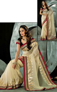 CREAM JACQUARD NET LATEST SAREE - VAL 5320