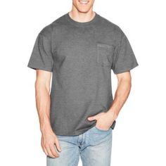 Hanes Men's Beefy-T Short Sleeve Tee with Pocket, Size: Large, Black