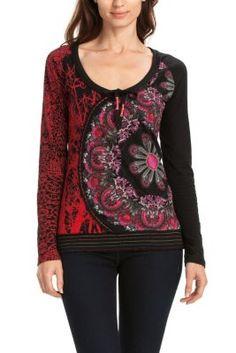 Camiseta de mujer Desigual modelo Alma. Camiseta de manga larga con un colorido estampado como protagonista. Elige tu color.