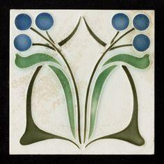 Tegel: 2 gestileerde bloemen jugendstil