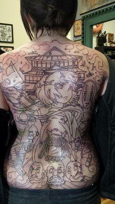 15 Amazing Princess Mononoke Tattoo Ideas, Ghibli Fans Come In Backpiece Tattoo, 1 Tattoo, Tattoo Outline, Piercing Tattoo, Body Art Tattoos, Piercings, Miyazaki Tattoo, Studio Ghibli Tattoo, Tattoo Studio