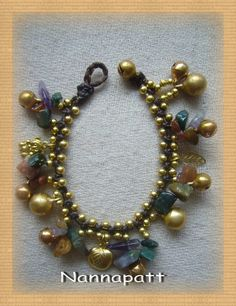 Thai handmade bracelet jade stone and cute brass pendant on Etsy, ฿255.59