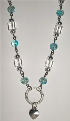 Silver Blue Clear Crackle Glass Bead Hoop Heart Pendant Necklace Set   MJOYS - Jewelry on ArtFire