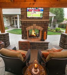 Double Sided Fireplace http://www.paradiserestored.com/landscaping-blog/happy-times-happy-valley-oregon/ #pergolafireplace
