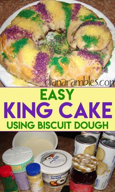 Easy and Best King Cake Recipe using Refrigerated Dough Easy King Cake Recipe for Mardi Gras – Want to celebrate Mardi Gras? Try this easy recipe for King Cake. This Mardi Gras Baby Cake is the best King Cake recipe to make on Fat Tuesday. Mardi Gras Baby Cake, Mardi Gras Food, Mardi Gras Party, Easy Cake Recipes, Dessert Recipes, Easy King Cake Recipe, Donut Recipes, Candy Recipes, Sweet Recipes