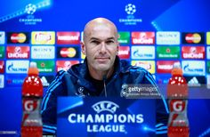 Zinedine Zidane, Manager of Real Madrid faces the media during a press conference ahead of the UEFA Champions League Semi Final Second Leg between Real Madrid and Manchester City at Valdebebas training ground on May 3, 2016 in Madrid, Spain.