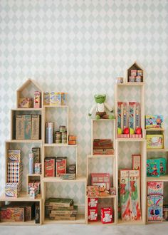 Fun wooden shadow boxes | 10 Super Stylish Storage Ideas for Kids Rooms - Tinyme Blog