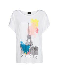 Mango City print slub T-shirt