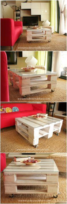 Mesa de palets TEIDE. Disponible en www.ecodecomobiliario.com