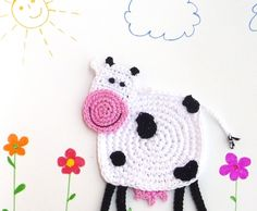 free crochet pattern for large football applique | Crochet Cow Coaster Pattern