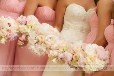 Her girls carried bouquets of white hydrangeas and soft pink peonies and roses, while the bride carried a bouquet of white hydrangeas, both pink and white peonies, and pink and white roses. Flowers by Jeff Martin's Florist,   See more wedding bouquets, centerpieces, and more at www.jeffmartinsweddings.com.