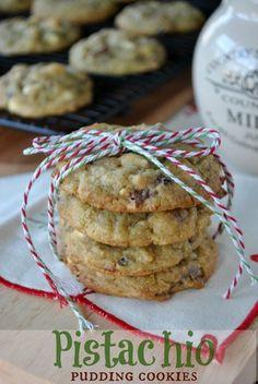 Pistachio Pudding Cookies- with Craisins, White Chocolate and Pistachios! #JELLO