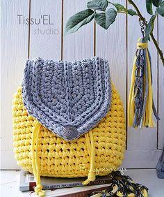Bolsa | croche | saco | Mochila | amarela | cinza | com alças