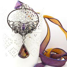 Wire wrap necklace bold statement jewelry silk by MadeBySunflower, $310.00