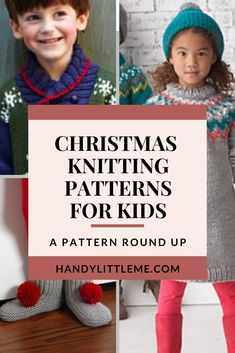 Christmas knitting patterns for kids. Christmas knits for children including sweaters, slipper socks, hats and more! Free Knitting Patterns For Women, Poncho Knitting Patterns, Christmas Knitting Patterns, Knitting For Kids, Knitting Projects, Simple Knitting, Childrens Christmas, Kids Christmas, Knitted Dog Sweater Pattern