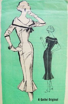 1950s Stunning Gothe Original Slim Cocktail Dress Pattern Gorgeous Portrait Collar Ultra Figure Hugging Style Prominent Designer 375 Vintage...