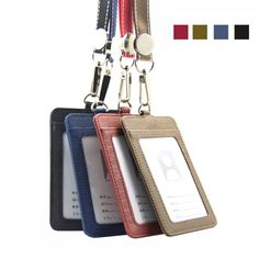 Badge holder with lanyard PU Leather Bank Credit Card Holders case Women Men Neck Strap Card Bus ID holders customized Wholesale