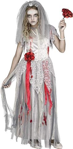 The Zombie Bride Girl Costume is a great scary outfit that can be worn for Halloween and other holidays. Ghost Bride Costume, Halloween Bride Costumes, Ghost Costumes, Girl Costumes, Costumes For Women, Halloween Party, Costume Ideas, Halloween Kids, Zombie Costumes