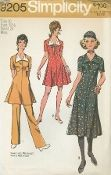 "An unused original ca. 1970 Simplicity Pattern 9205.  Misses' Dress in two lengths and Pants:  The mini-dress V. 1 & 2 and the midi-dress V. 3 with back zipper have ""V"" shaped neckline, front collar and short set-in sleeves.  V. 1 & 2 feature contrasting collar.  V. 1 & 3 have patch pockets and button trim.  V. 2 has contrasting bow.  The pants V. 1 have elastic waistline casing."
