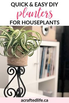 Ready to take your planters to the next level? Learn how to make quick and easy DIY planters for houseplants and give your green friends a facelift! Crafts | Upcycle | Dollar Store Makeover | Decor on a Budget Easy Crafts, Diy And Crafts, Easy Diy, Glue Gun Crafts, Diy Porch, Diy Planters, Decorating Tools, Do It Yourself Home, Diy Craft Projects