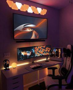 Computer Gaming Room, Gaming Desk Setup, Best Gaming Setup, Pc Setup, Living Room Gaming Setup, Cool Gaming Setups, Gamer Setup, Gaming Rooms, Computer Setup