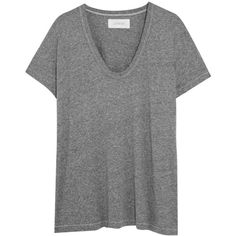 The Great Stretch-jersey T-shirt (€100) ❤ liked on Polyvore featuring tops, t-shirts, grey, gray t shirt, boxy tee, loose tee, loose fitting tops and grey top