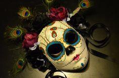 Queen Peacock - Day of the Dead Mask Skeleton sugar Skull Bones Feather Dia De los Muertos Calavera mask
