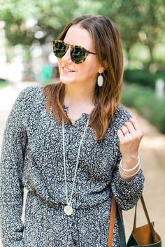 fall fashion work outfit - black and white printed dress