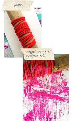 alisaburke: my favorite everyday things- for painting Yarn or any type of string or fiber is one of my favorite materials for creating free form lines with paint. I like to wrap yarn around a cardboard roll and roll it in paint and across my surface.