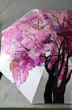 """Купить Зонт автомат, роспись """"Цветущее дерево"""" - расписной зонт, зонт с росписью, зонт складной"""