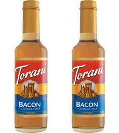 Bacon-flavored coffee syrup -- I actually bought this for my boss :) Coffee Supplies, Bacon Bits, Bacon Bacon, Bacon Recipes, Hot Sauce Bottles, Stevia, Syrup, Herbalism, Vegetarian