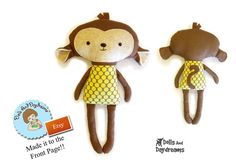 """This sewing pattern is to make a child friendly stuffed toy Monkey that is 18"""" (45.7 cm) tall (excluding hair tuft) from cotton and felt fabrics. My versatile pattern allows you to make both cheeky boy and cute girl monkeys and comes with a 16 page easy to follow photo and instructional tutorial, with helpful doll making tips & tricks, and an easy felt face and embroidery template. All of my doll patterns will provide you with a high quality finished doll, with no visible ugly seams (leg ..."""